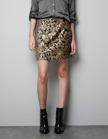 Zara Jacquard Mini Skirt