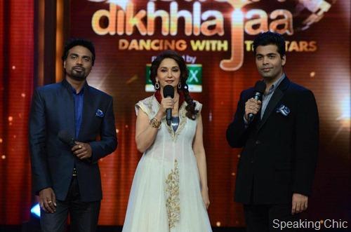 Madhuri Dixit and Karan Johar in Jhalak Dikhla Ja