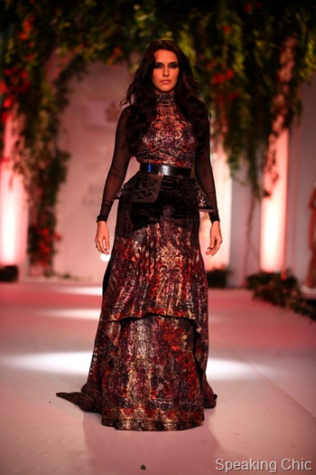 Neha Dhupia for Falguni & Shane Peacock at India Bridal Fashion Week