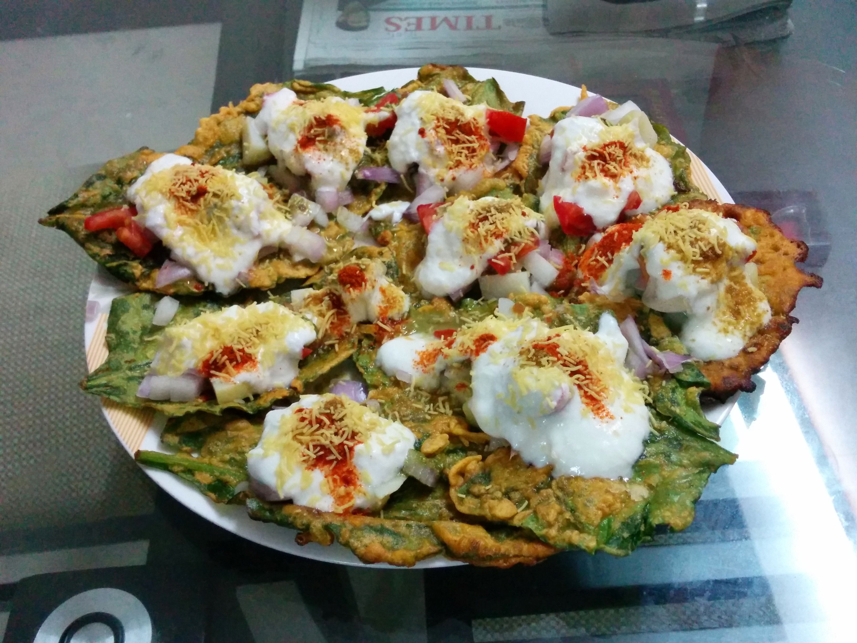 spinach or palak chaat- Indian street food