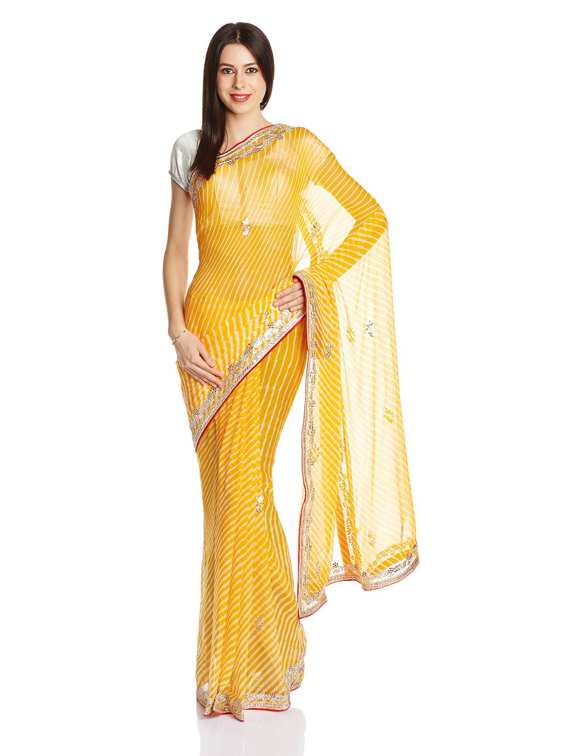 Yellow leheriya sari with gota