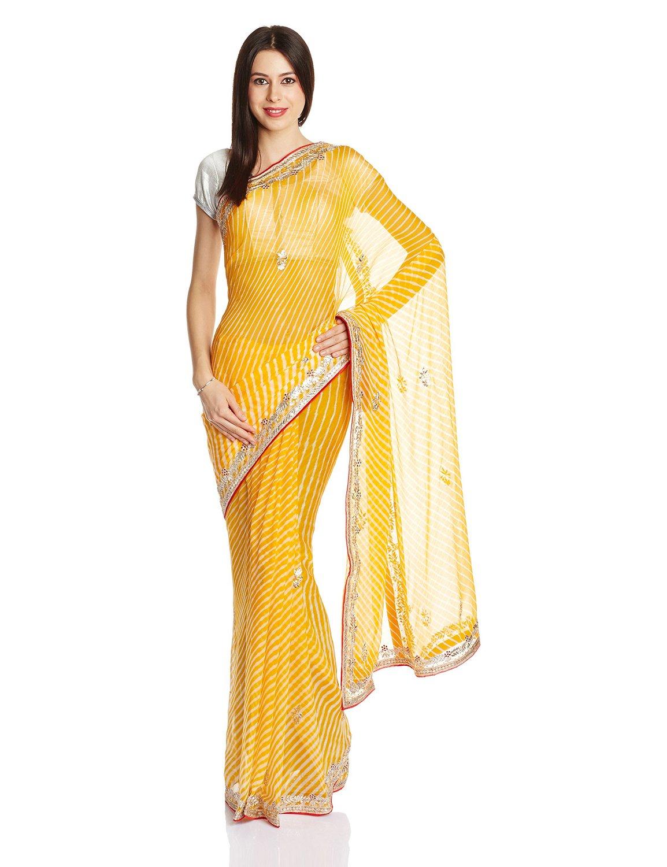Yellow leheriya sari with gota