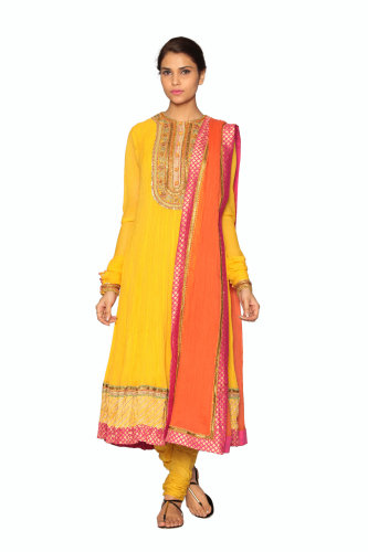 Yellow and orange suit by Ritu Kumar