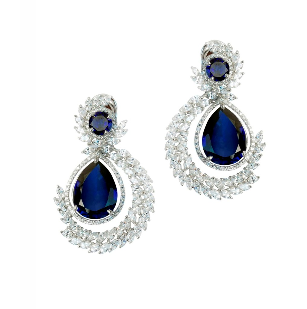 Ocean Drop Earrings with Swarovski Surround from Adawna by Sonal's Bijoux