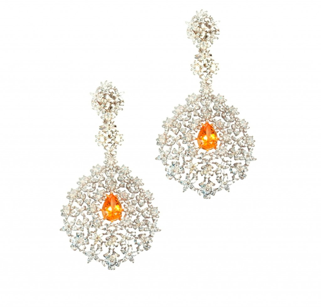 Pear Drop and Floral Motif Danglings with Swarovski Crystals from Adawna by Sonal's Bijoux