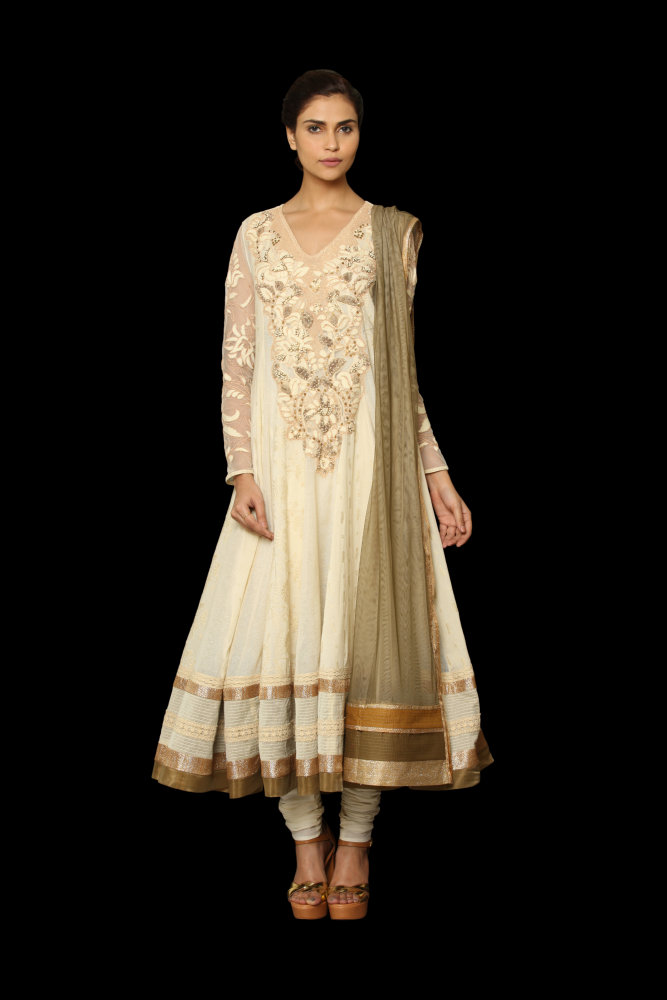 ritu kumar off-white and gold