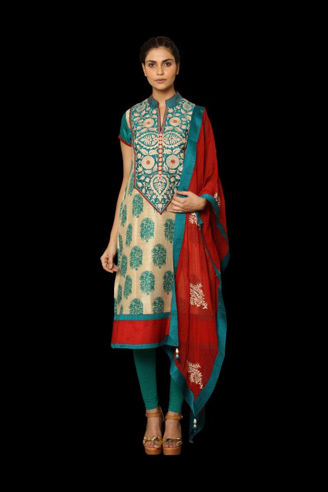 Ritu Kumar red blue beige outfit