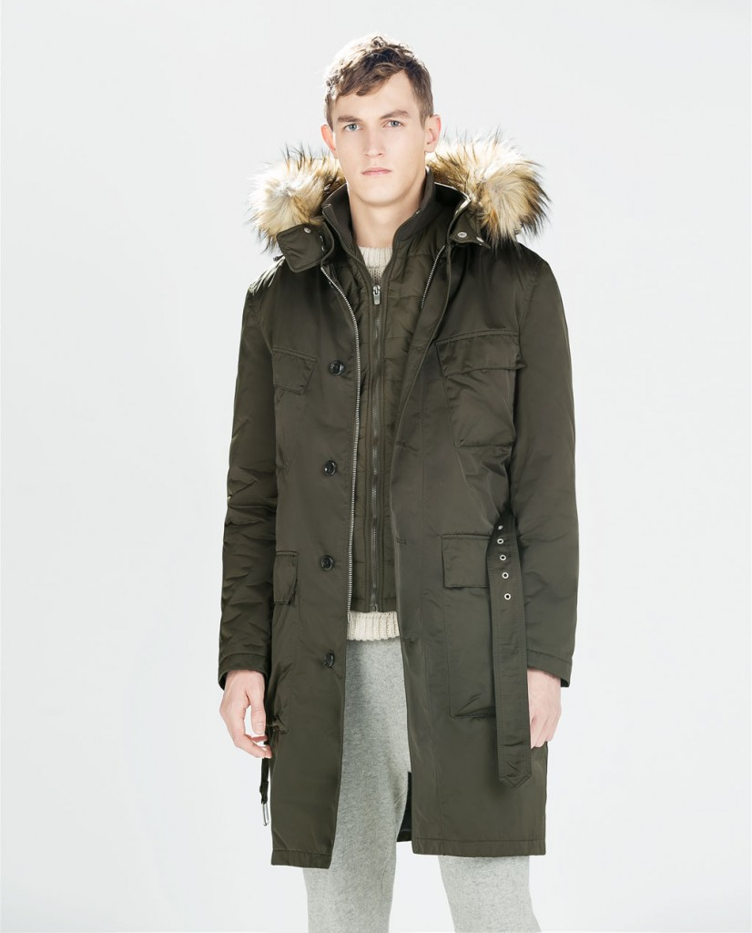Zara men's parka coat