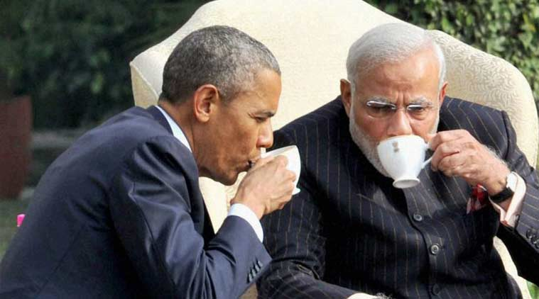PM Modi suit tea with Obama