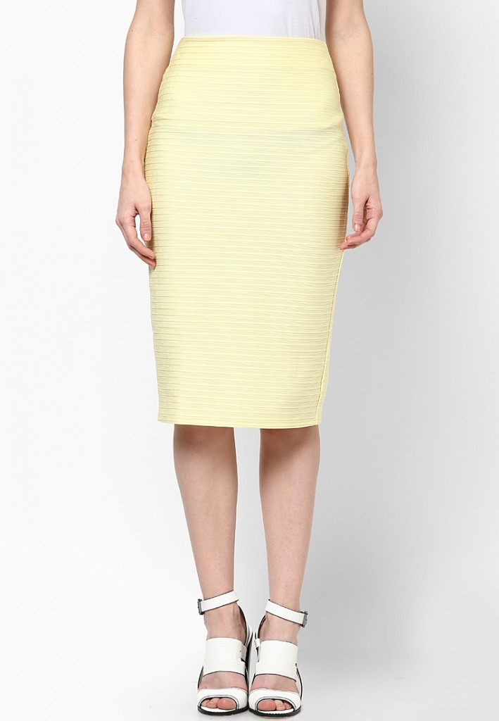 Miss Selfridge yellow pencil skirt
