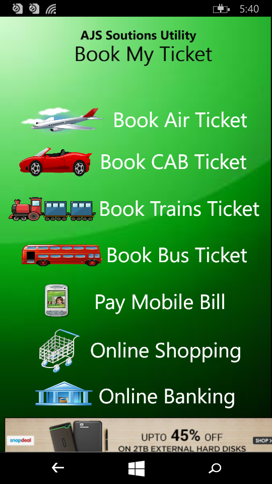 BookMyTicket Windows app