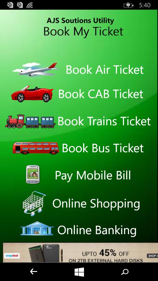 BookMyTicket Windows app