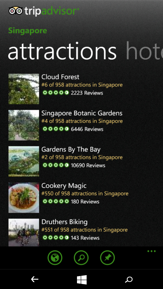 TripAdvisor windows mobile app