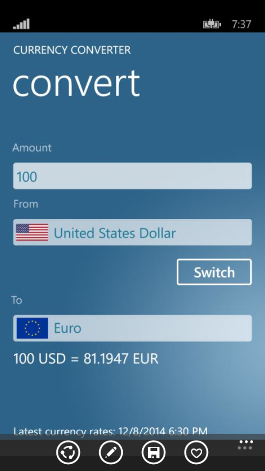 Currency Converter on Lumia
