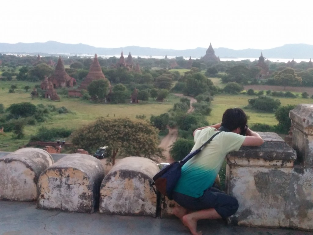 Bagan pagodas sunset with tourist