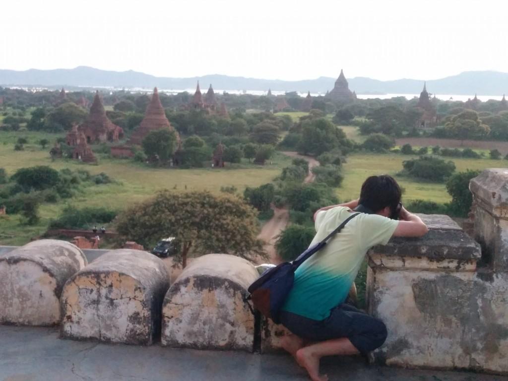 Bagan pagodas sunset with tourist