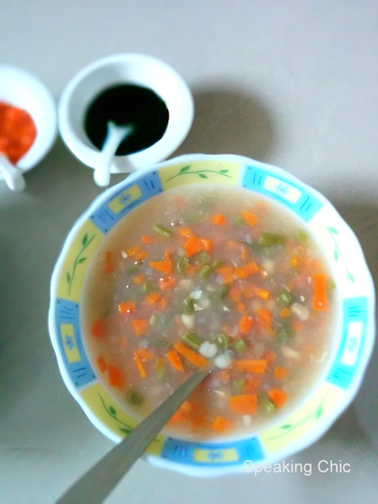 Sweet corn soup chicken and veg